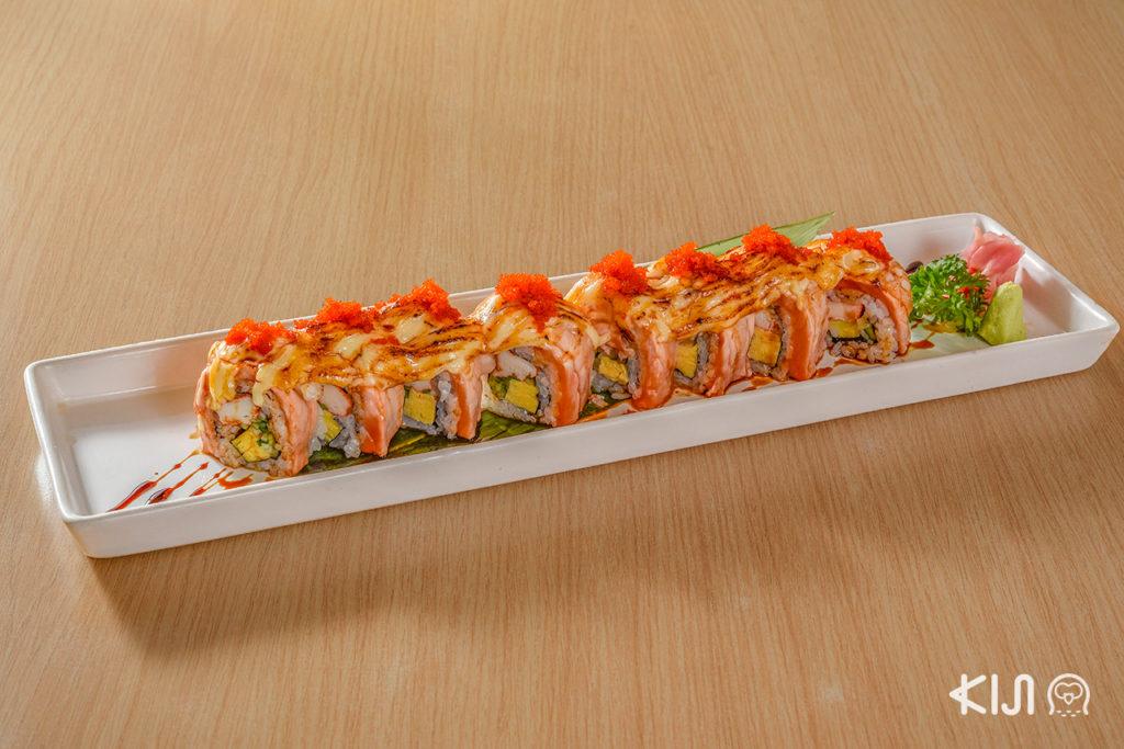 ซูชิโรล Salmon Engawa Roll (389 บาท)