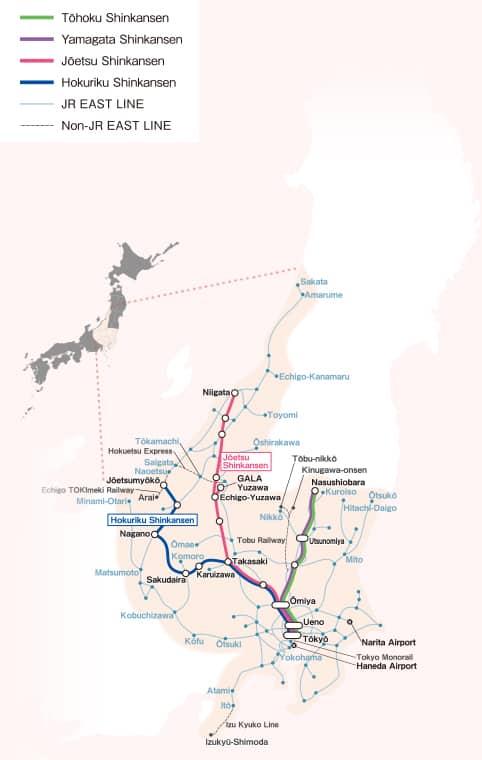 JR East Pass Nagano, Niigata Area Map