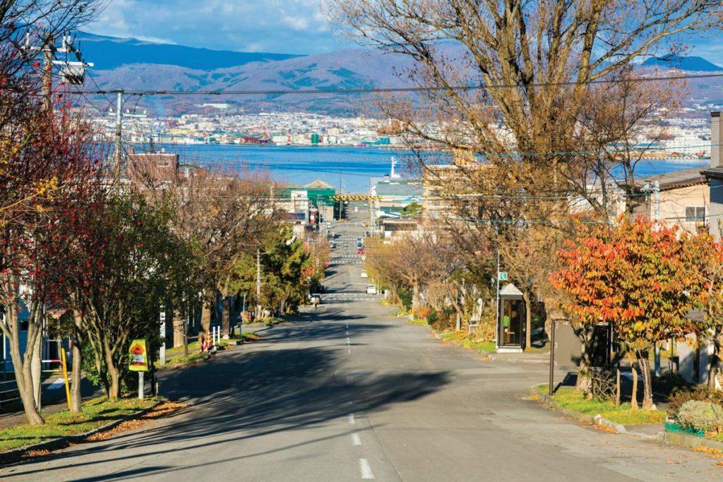 ทางลาดบริเวณโมะโตะมะชิ (Slopes in Motomachi) คุณยังได้เห็นสีสันของใบไม้ที่เรียงรายอยู่สองข้างทาง