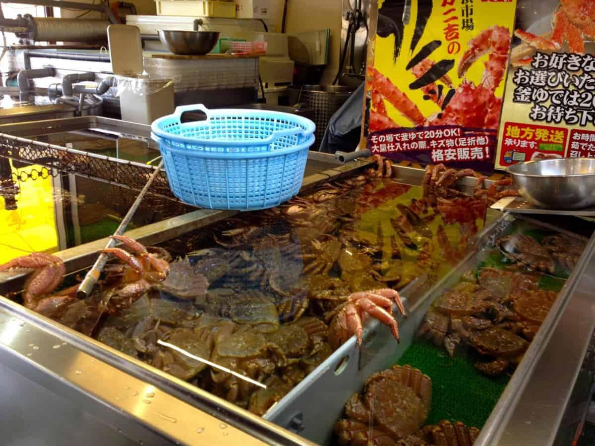 ปูสดใหม่จากตลาดคุชิโระ ทังโจะ (Kushiro Tancho Market)