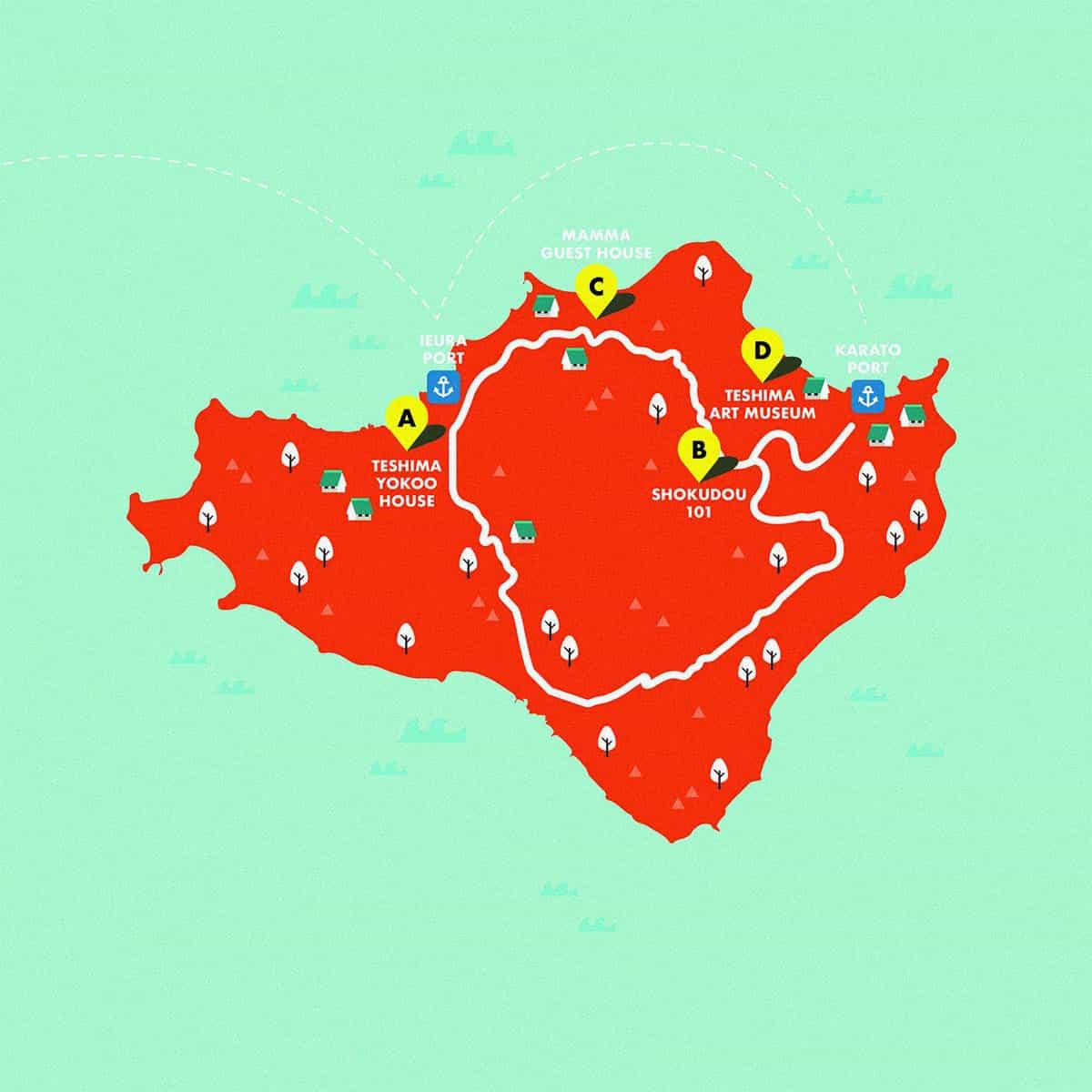 สถานที่จัดงานเทศกาลบนเกาะเทชิมะ