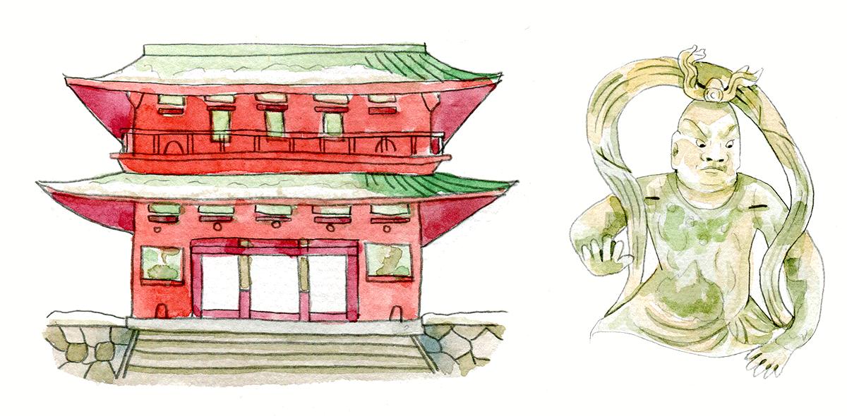 """ประตูเมืองขนาดใหญ่ 2 ชั้น มีรูปปั้นเทพผู้พิทักษ์ขนาดใหญ่ 2 องค์ที่เรียกว่า """"นิโอโสะ (Niozo)"""" ยืนอยู่ทั้งสองฝั่งของประตู"""