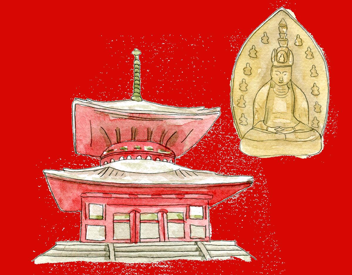 คมปงไดโต (Konpon Daito) ด้านในเป็นที่ประดิษฐานพระพุทธรูปไดนิชิ เนียวไร ซะโซะ (Dainichi Nyorai Zazo)