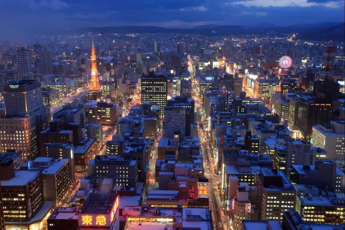 มองซัปโปโรยามราตรี จาก Sapporo JR Tower