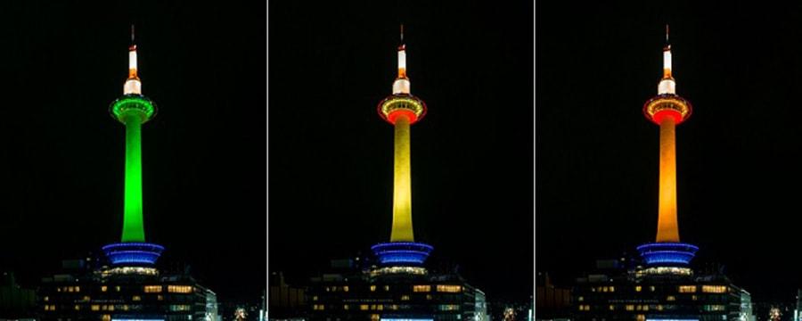 Kyoto Tower ยามราตรีมีลูกเล่นไฟ