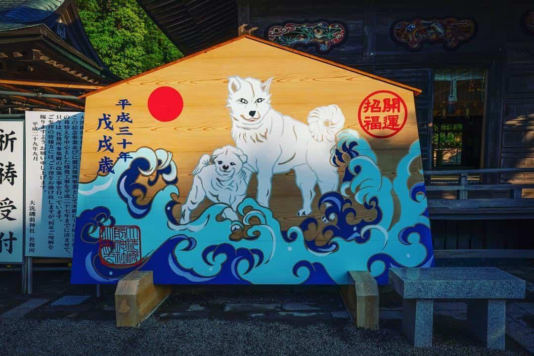 ป้ายไม้ปีจอที่ตกแต่งภายในศาลเจ้าโออาไรอิโซซากิ (Oarai Isosaki Shrine)