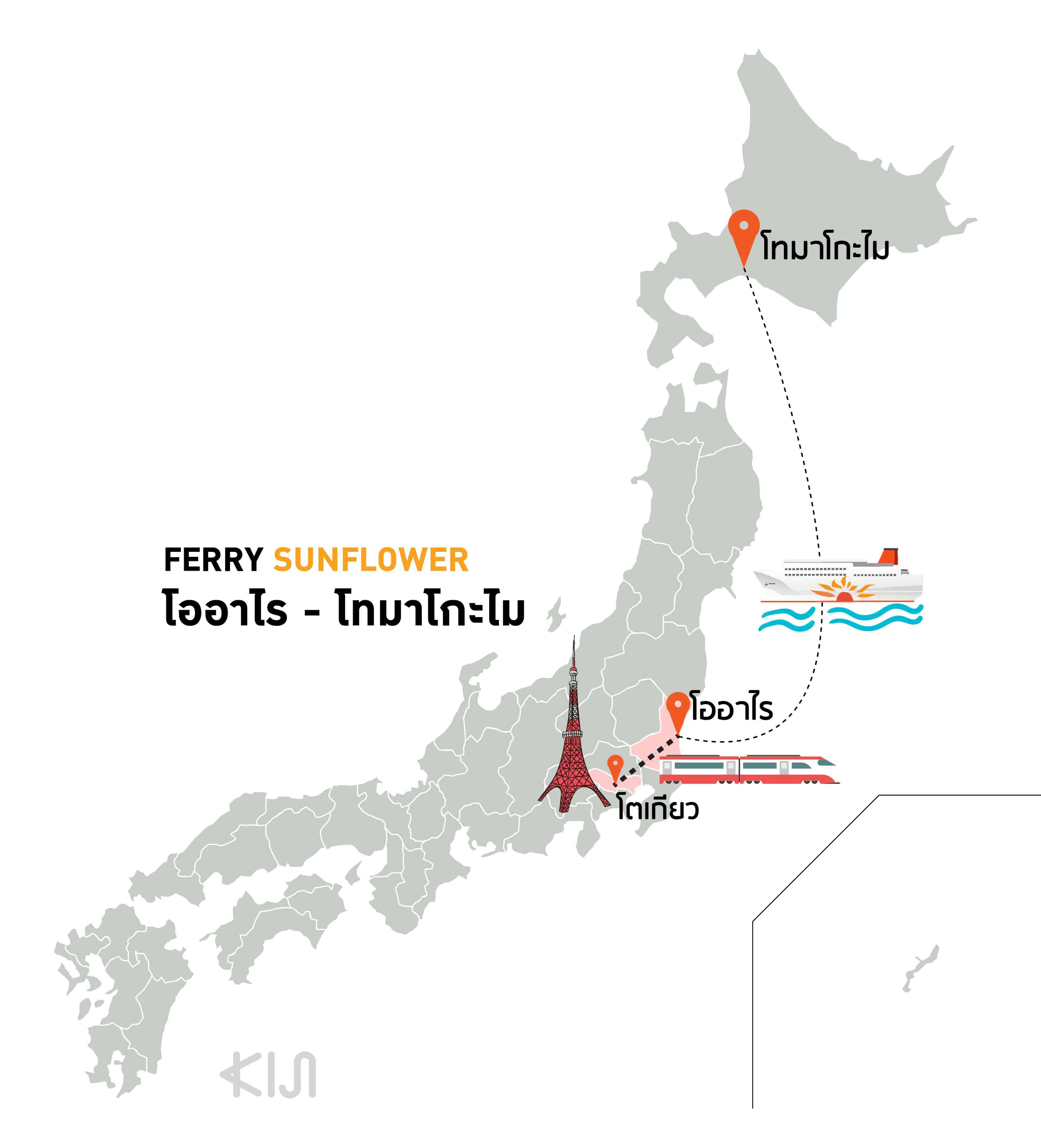 เส้นทางการเดินทางของเรือเฟอร์รี่ซันฟลาวเวอร์ (Ferry Sunflower) ที่มุ่งหน้าจากเมืองโออาไร (Oarai) สู่เมืองโทมาโกะไม (Tomakomai)