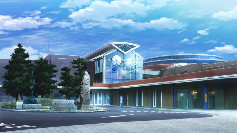 Aqua World Oarai ที่ปรากฏในการ์ตูนอนิเมชันเรื่อง Girls und Panzer ตอนที่ 10
