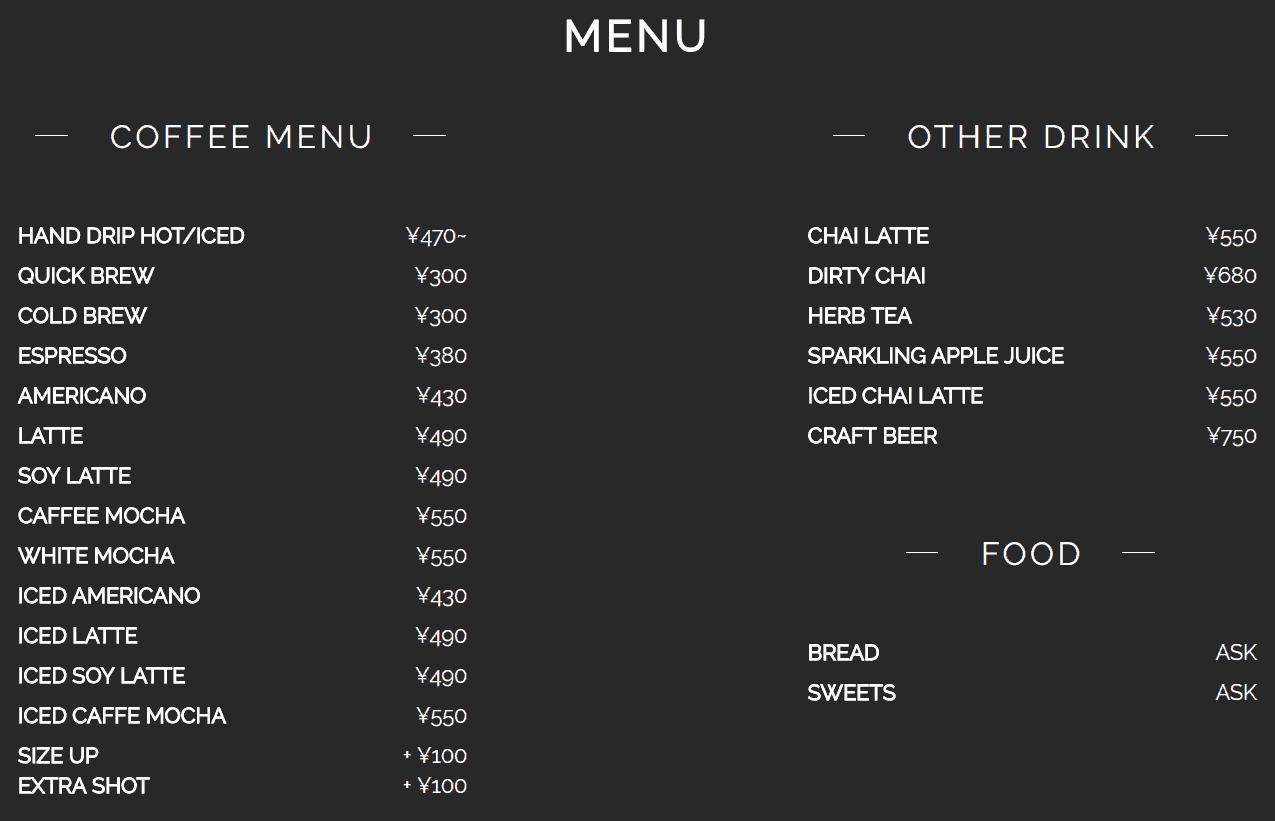 เมนูและราคาเครื่องดื่มของร้าน The Local Coffee Stand