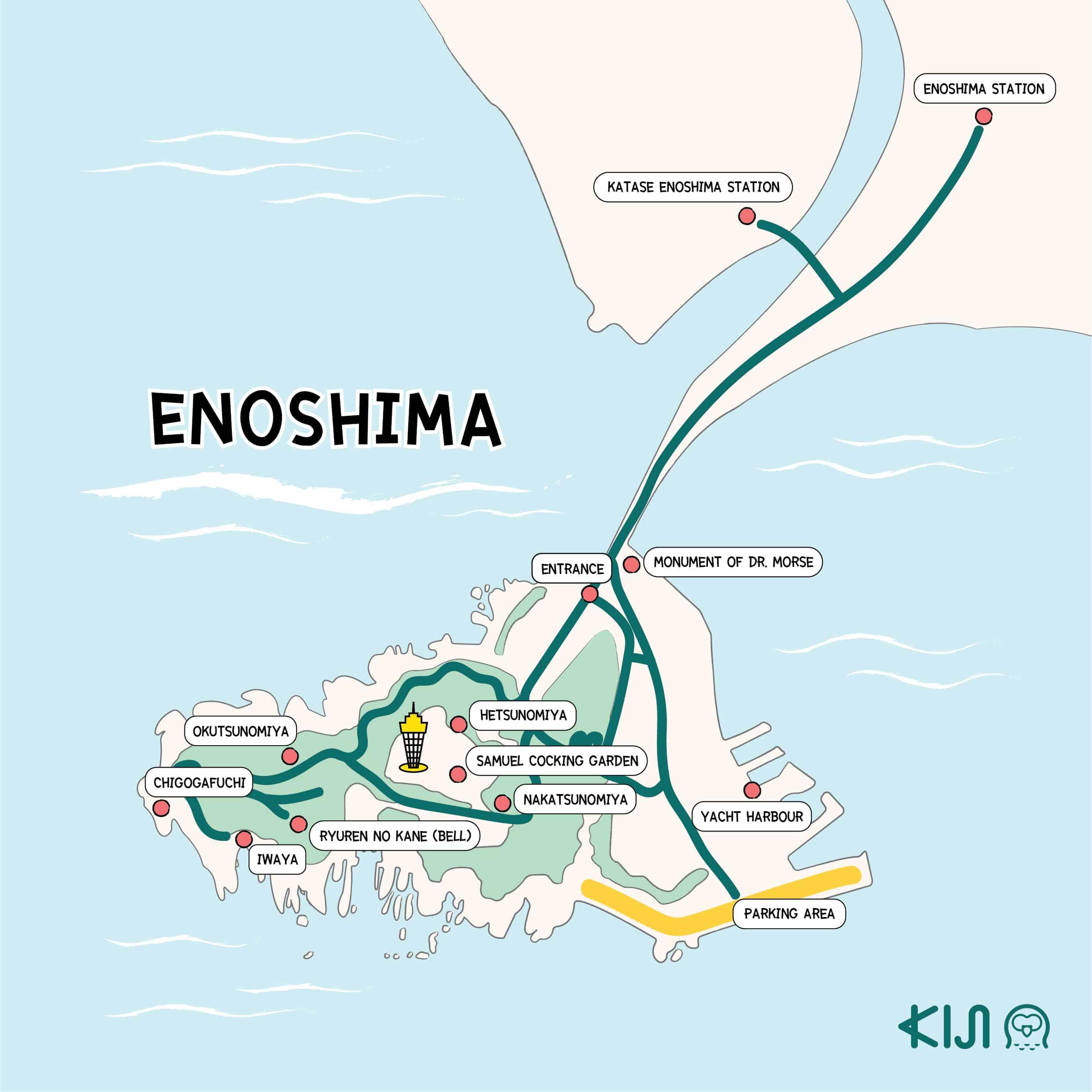 แผนที่เกาะเอโนชิมะ (Enoshima Island)