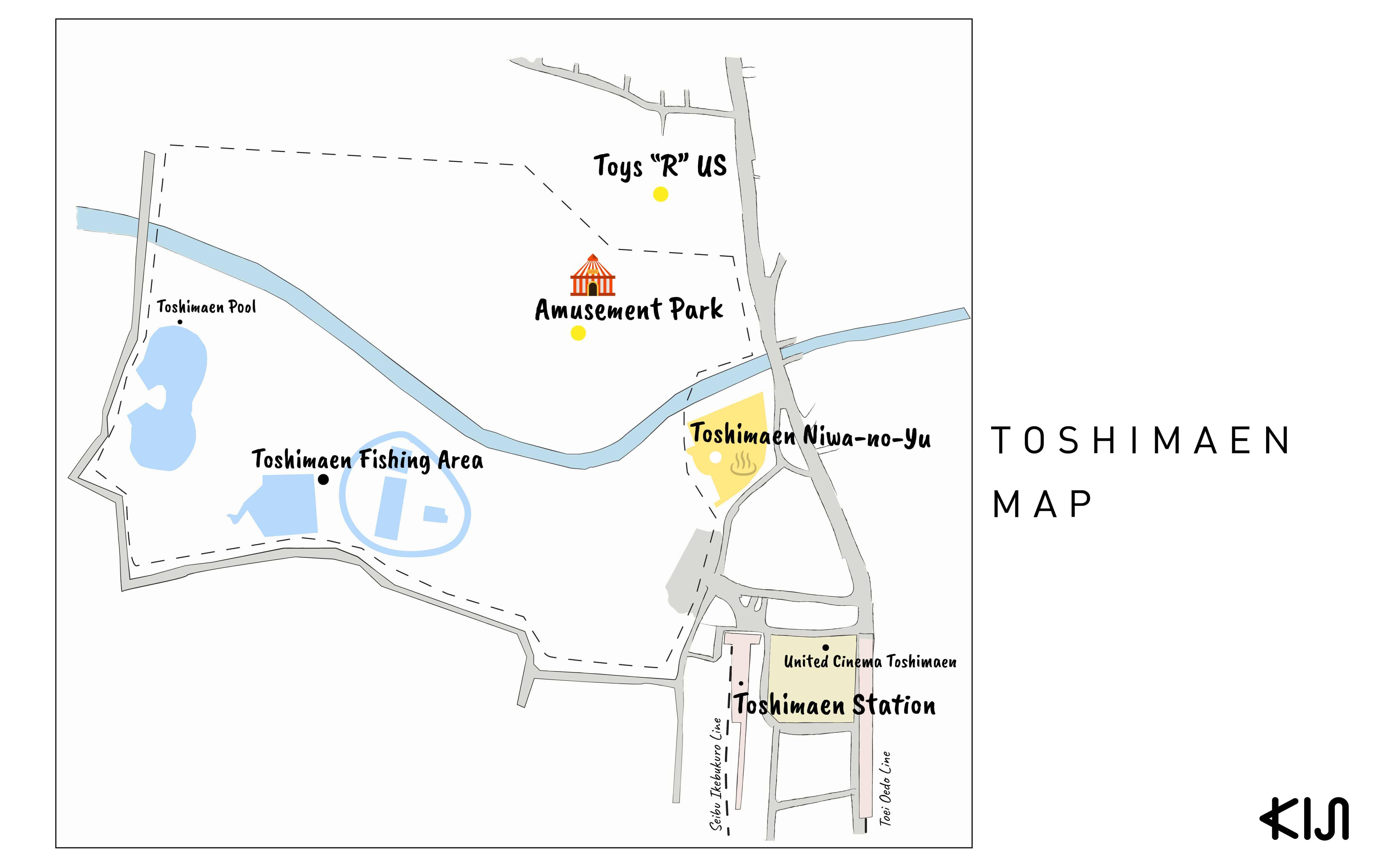 แผนที่บริเวณใกล้ๆ สถานีโทชิมะเอ็น (Toshimaen Station)