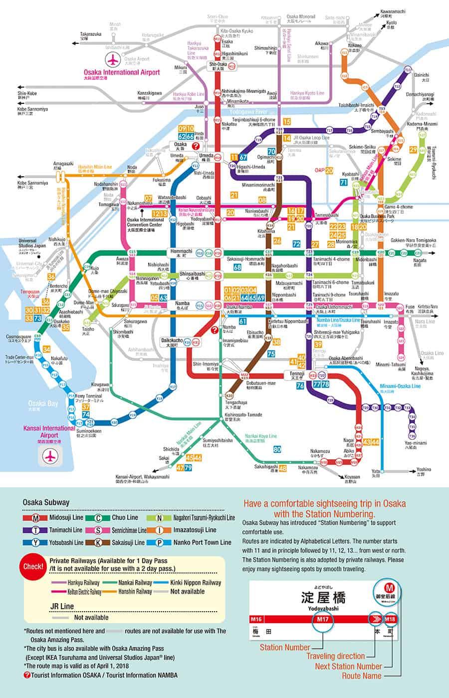 สถานีที่สามารถใช้ Osaka Amazing Pass 1 day ได้
