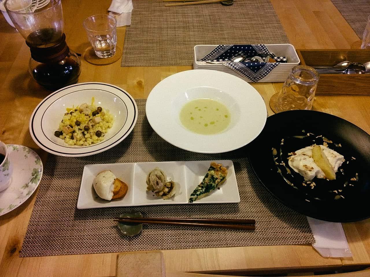 อาหารภายในฟาร์มสเตย์ Towa Kinoko Koubou