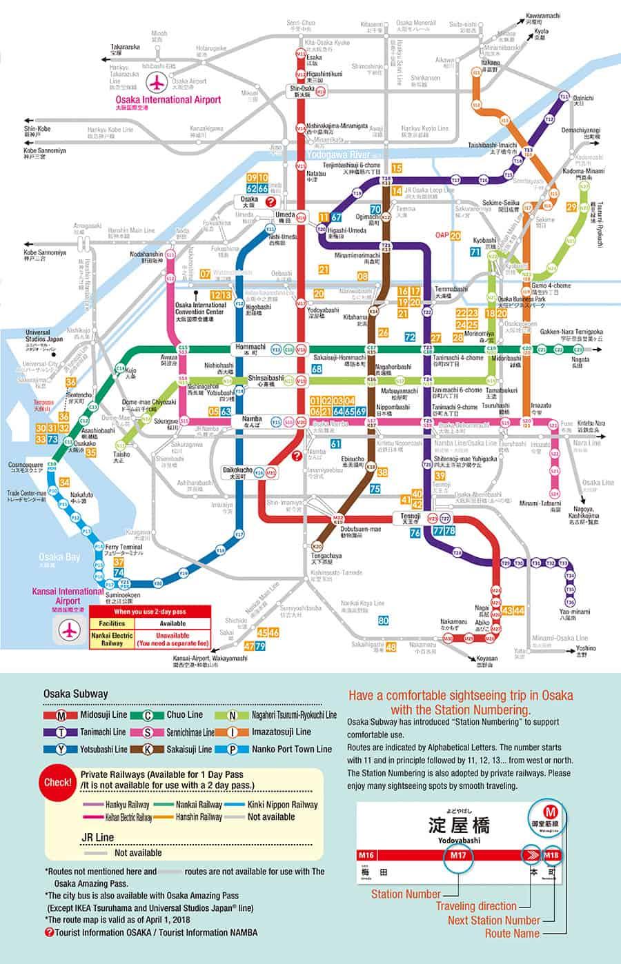 สถานีที่สามารถใช้ Osaka Amazing Pass 2 days ได้