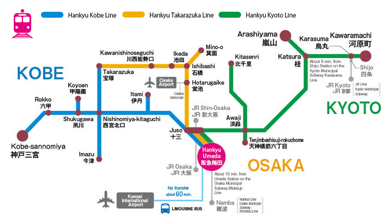 สถานีที่สามารถใช้ Hankyu Tourist Pass ได้