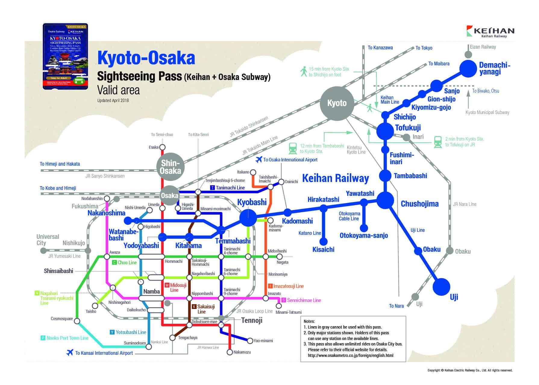 สถานีที่สามารถใช้ Sightseeing Pass 1 day (Kyoto-Osaka) ได้
