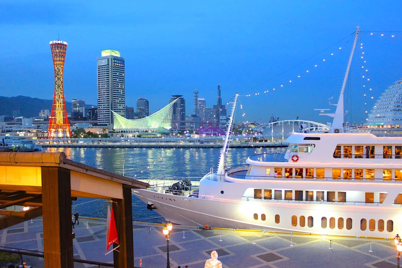 วิธีไปโกเบ (Kobe:神戸) - เรือสำราญคอนเชโต (Concerto) และโกเบพอร์ททาวเวอร์ (Kobe Port Tower) แลนมาร์คของโกเบ