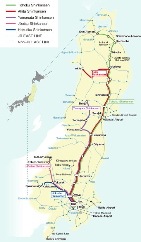 JR East Pass Tohoku Area Map