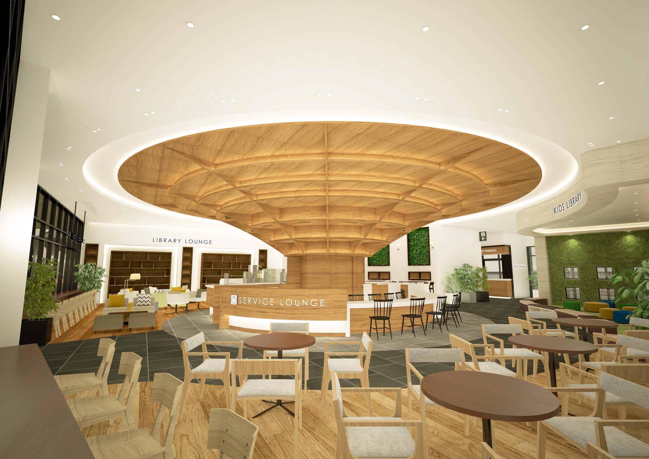 โซน Library Lounge และ Service Lounge ของศูนย์การค้า มิตซุย เอาท์เล็ท พาร์ค คิซาราสึ