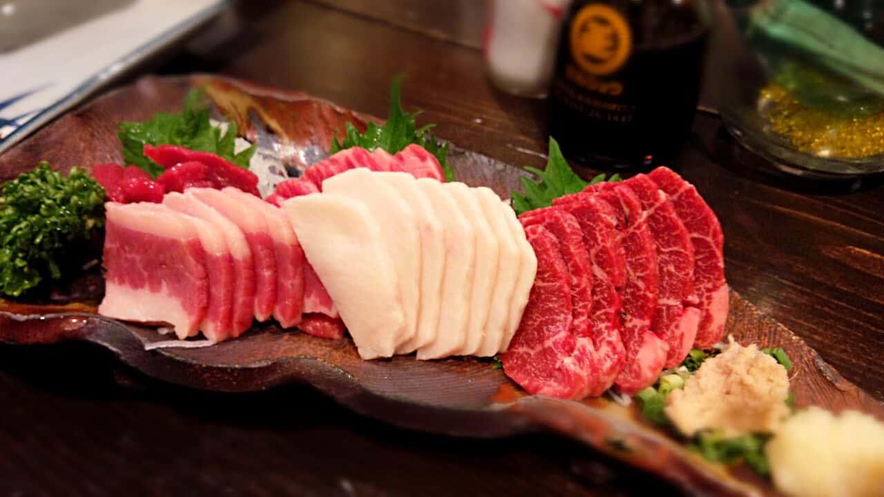 เนื้อม้าดิบ อาหารชื่อดังของมัตสึโมโตะ