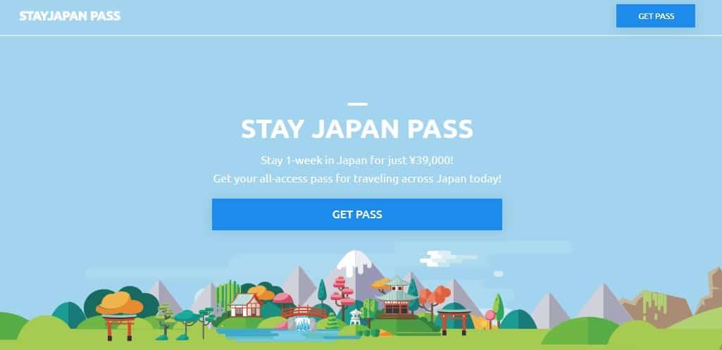 หน้าเว็บไซต์ Stay Japan Pass
