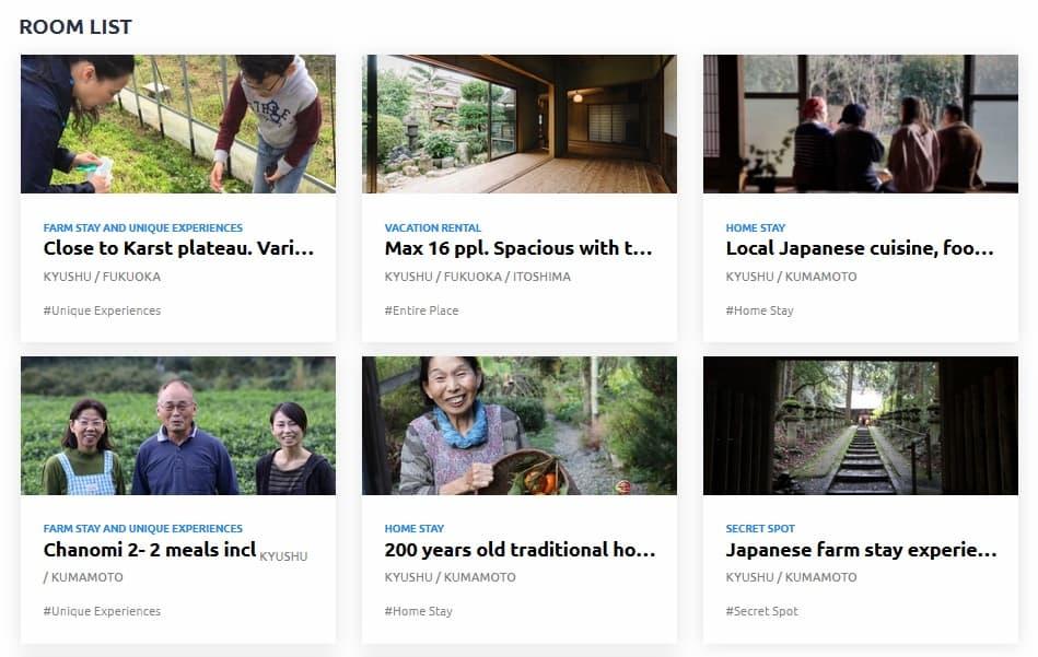 หน้าเลือกที่พักของเว็บไซต์ Stay Japan Pass