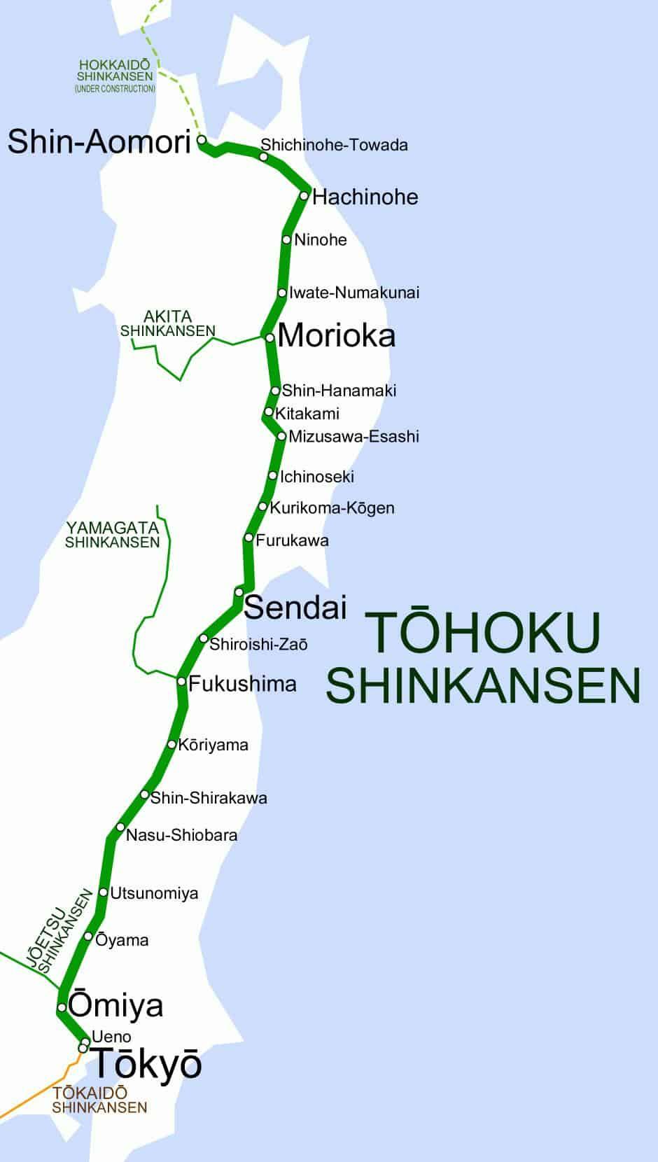 Tohoku Shinkansen Map
