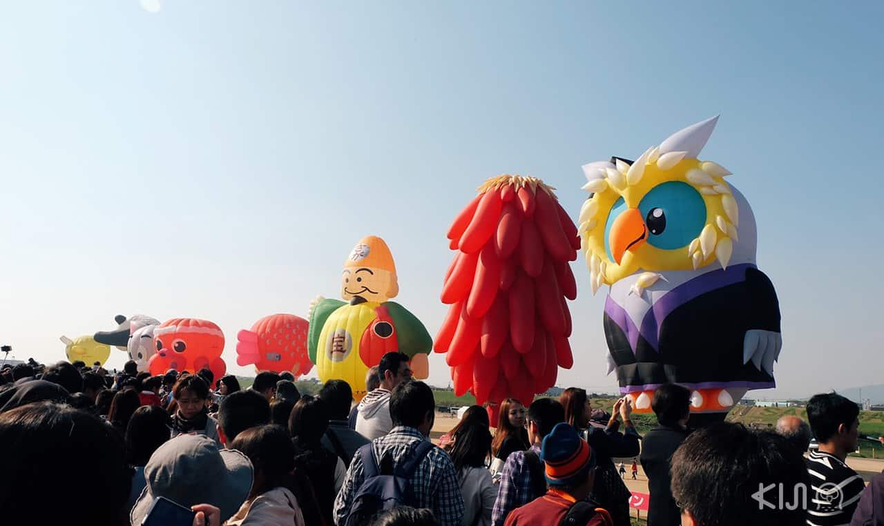 บอลลูนลายต่างๆในงานเทศกาลบอลลูนนานาชาติของจังหวัดซากะ