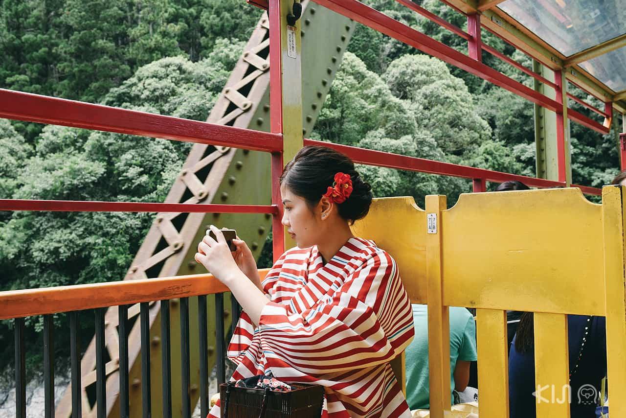 ระหว่างทางบนรถไฟ Sagano Romantic Train ในย่านอาราชิยาม่า (Arashiyama)