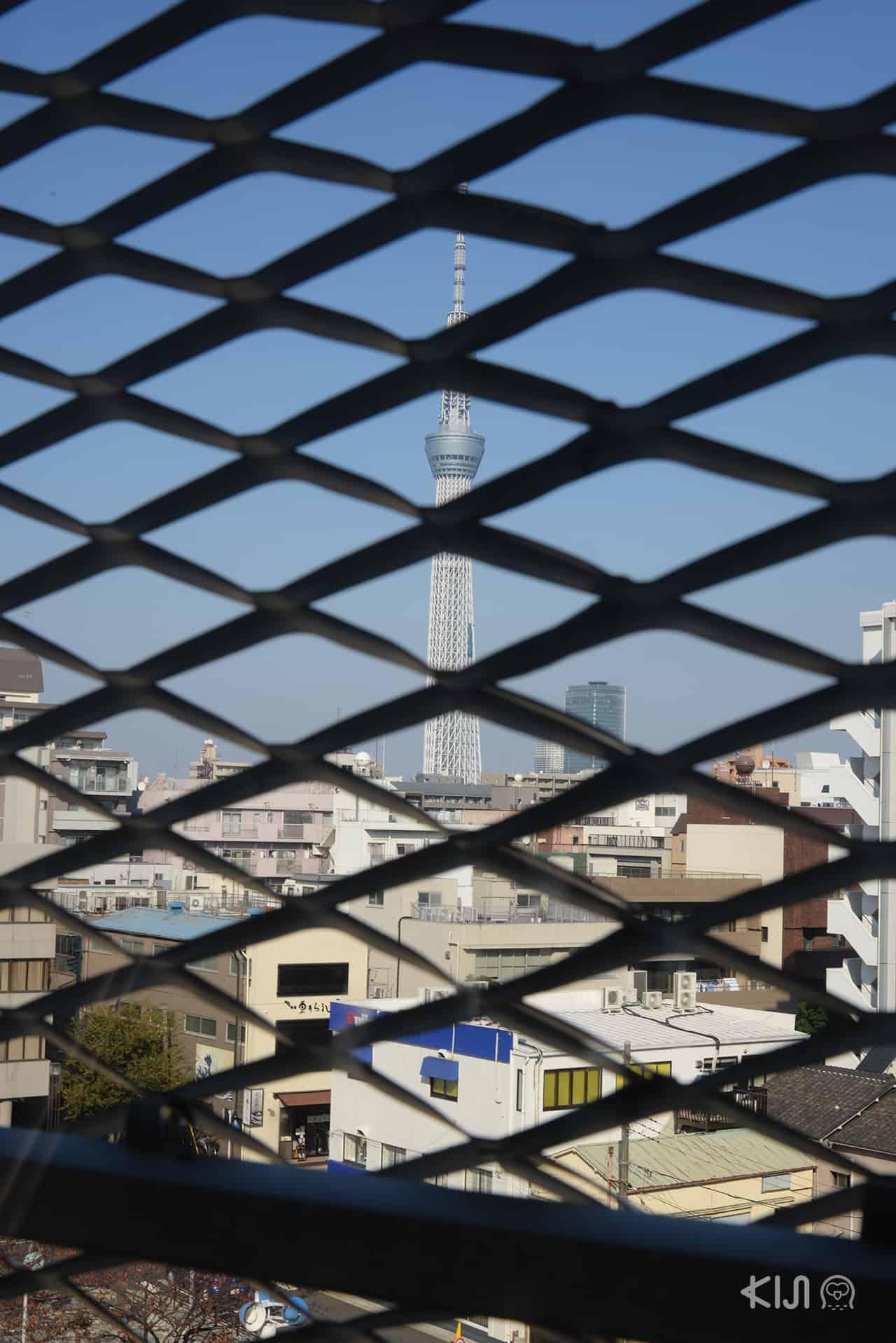 สามารถมองเห็นโตเกียวทาวเวอร์ได้จากข้างใน Sumida Hokusai Museum