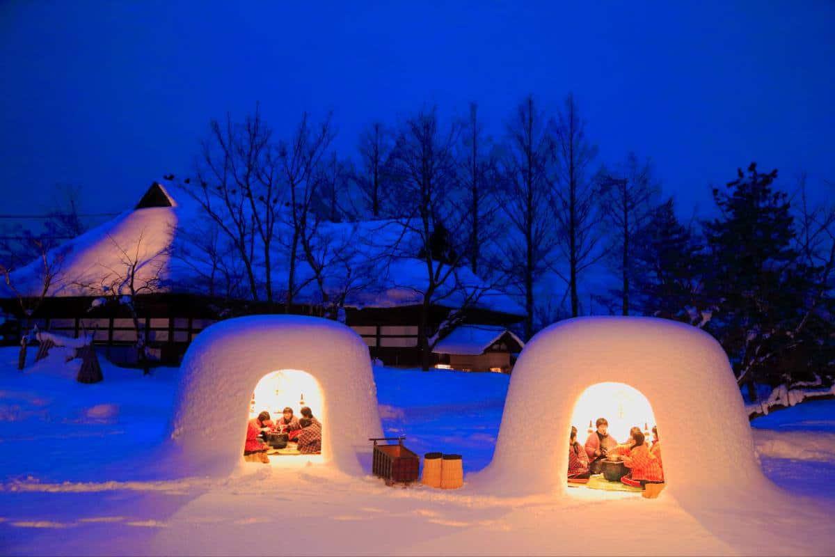 หมู่บ้านกระท่อมหิมะในเมืองโยโกเตะ จังหวัดอาคิตะ