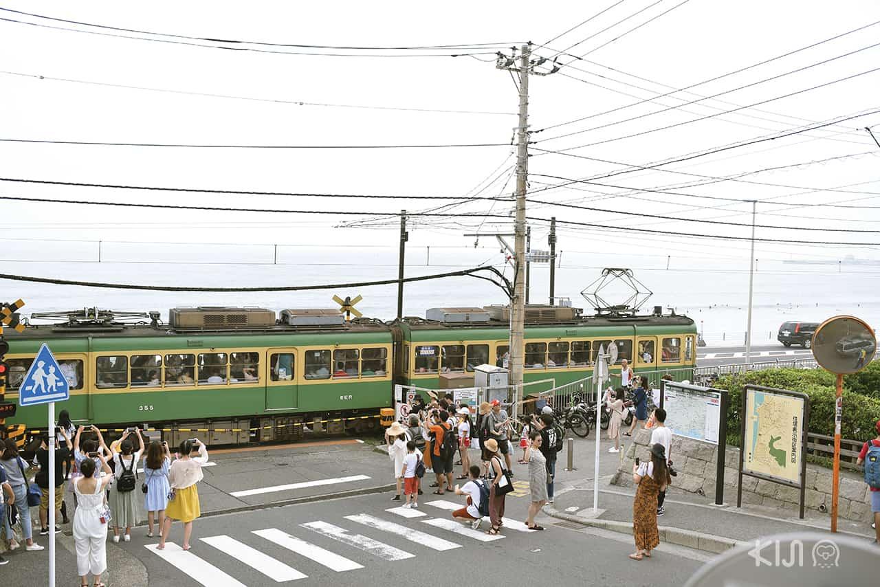รถไฟสีเขียวสายเอโนะเด็น (Enoden) ที่สถานีรถไฟ Kamakurakokomae