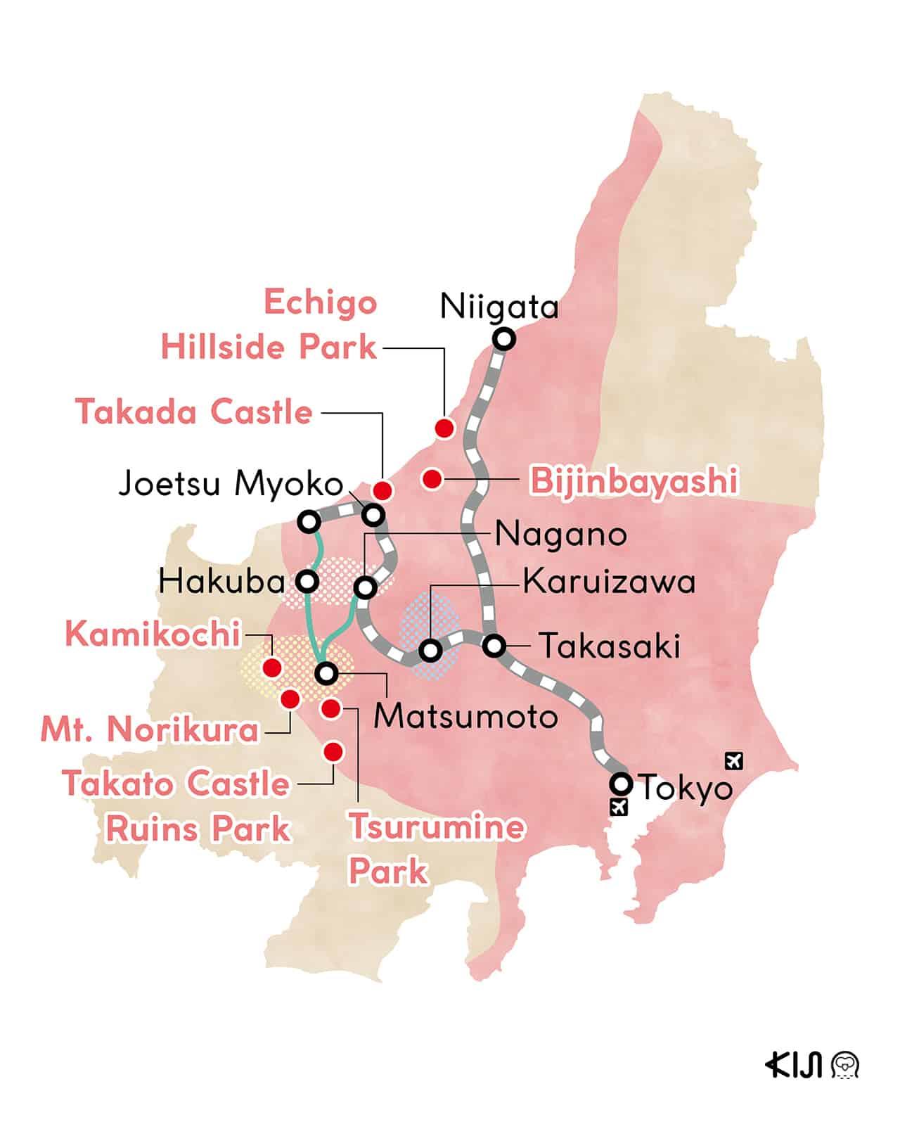 Nagano and Niigata map