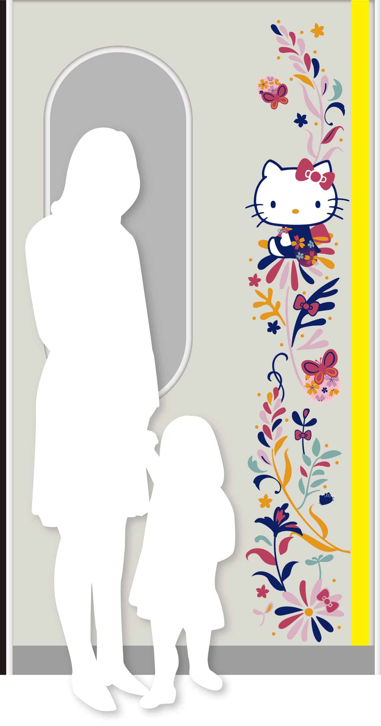 ลายคิตตี้ที่ประตูรถไฟ Hello Kitty HARUKA