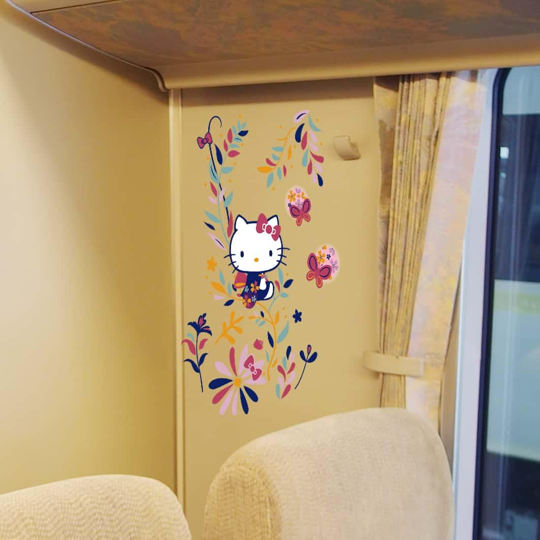 การตกแต่งภายในของรถไฟด่วนพิเศษ Hello Kitty HARUKA