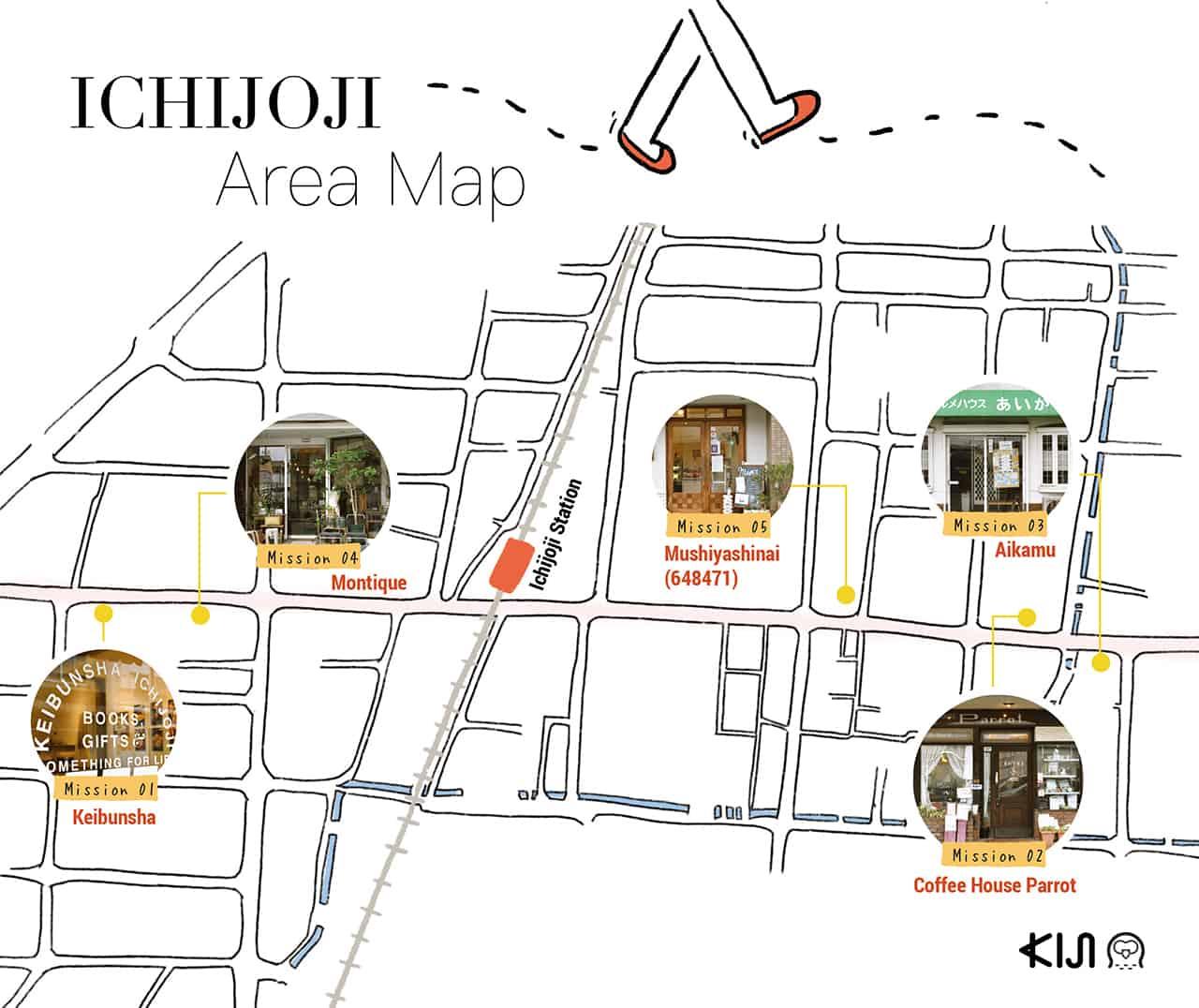 แผนที่การเดินทางไปร้านต่างๆ ภายในย่านอิชิโจจิ (Ichijoji Area Map)