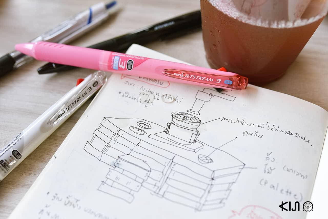 ปากกา uni Jetstream สีชมพูสดใส