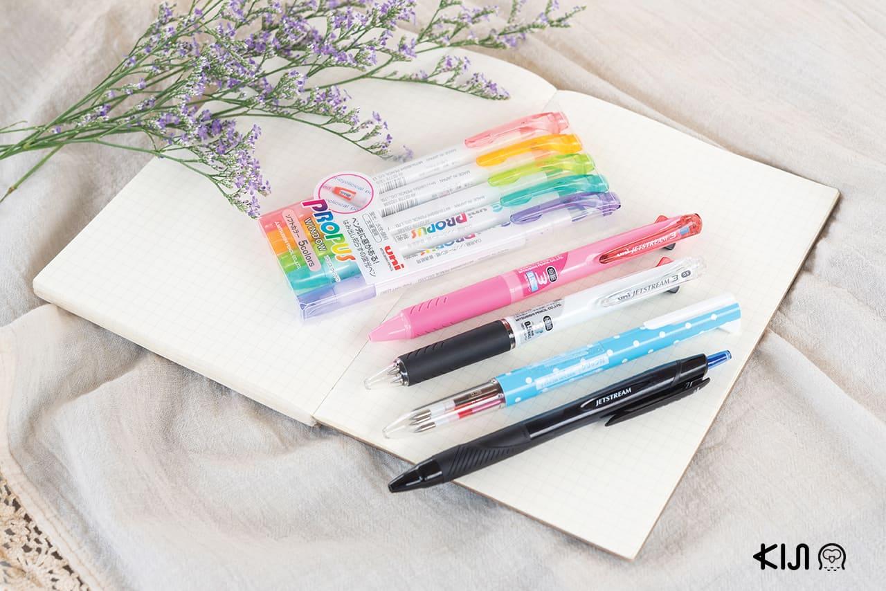 ปากกา uni ทั้งสามแบบ สามสไตล์