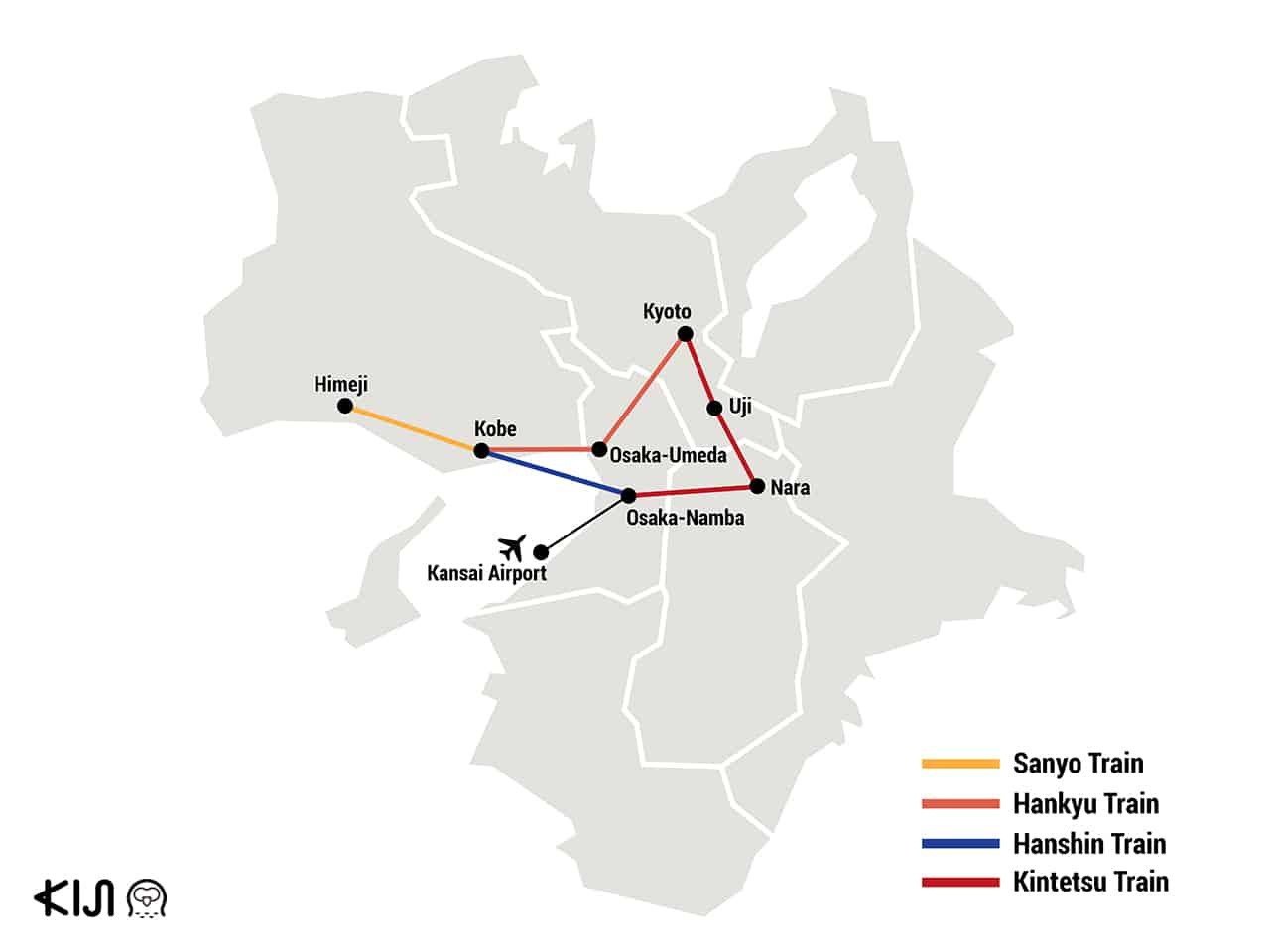 แผนที่การเดินทางไปนารา (Nara) และอุจิ (Uji) ด้วยรถไฟ Kintetsu, Hankyu Hanshin, และ Sanyo