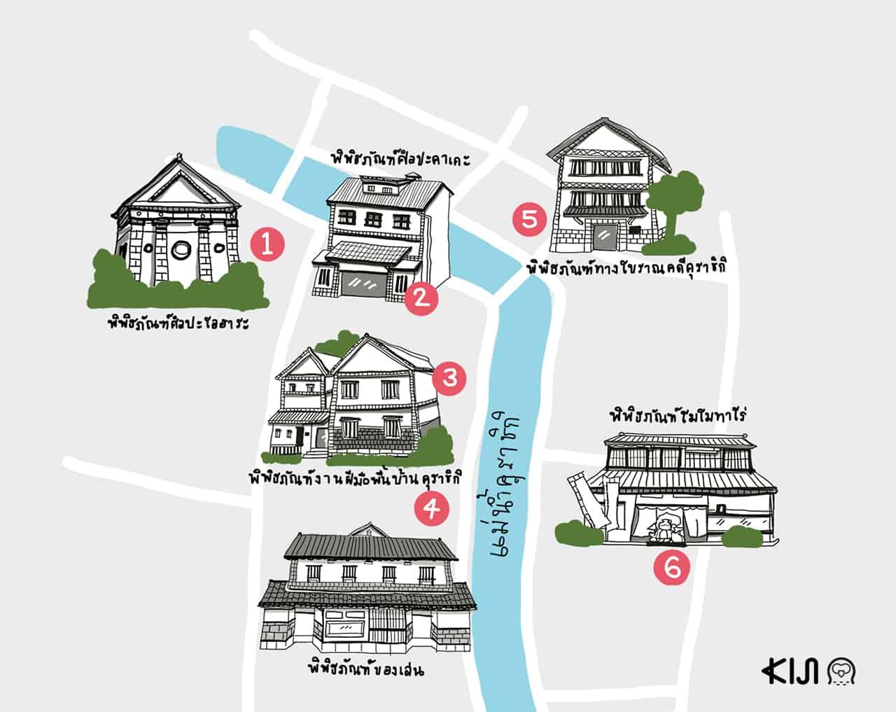 แผนที่พิพิธภัณฑ์ในเขตเมืองเก่าคุราชิกิ (Museums in Kurashiki)