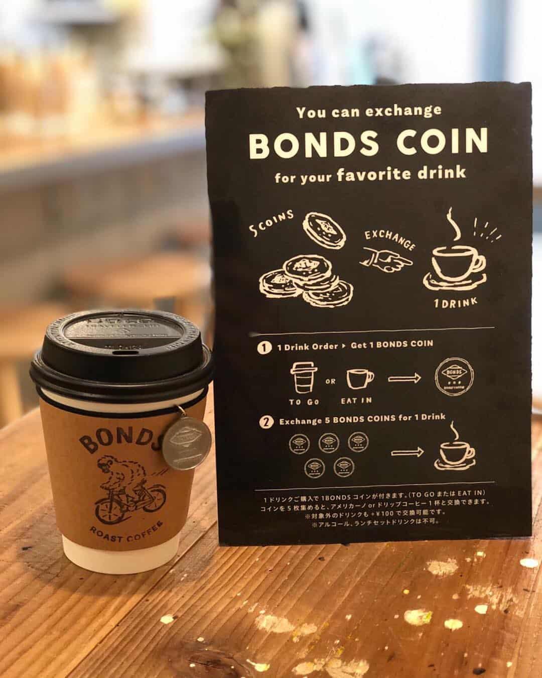 คาเฟ่ BONDS Meguro โตเกียว มีให้สะสมเหรียญเพื่อนำมาแลกกาแฟฟรี