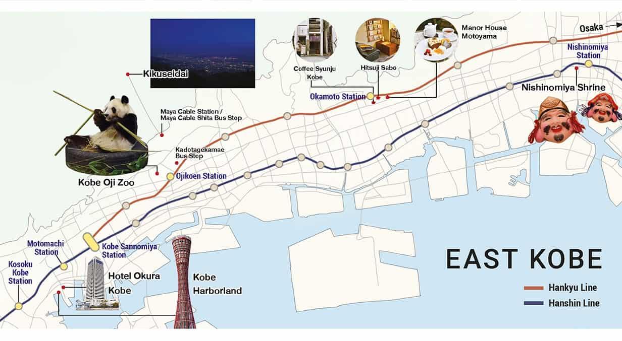 EAST KOBE MAP แผนที่ เที่ยวโกเบ ฝั่งตะวันออก