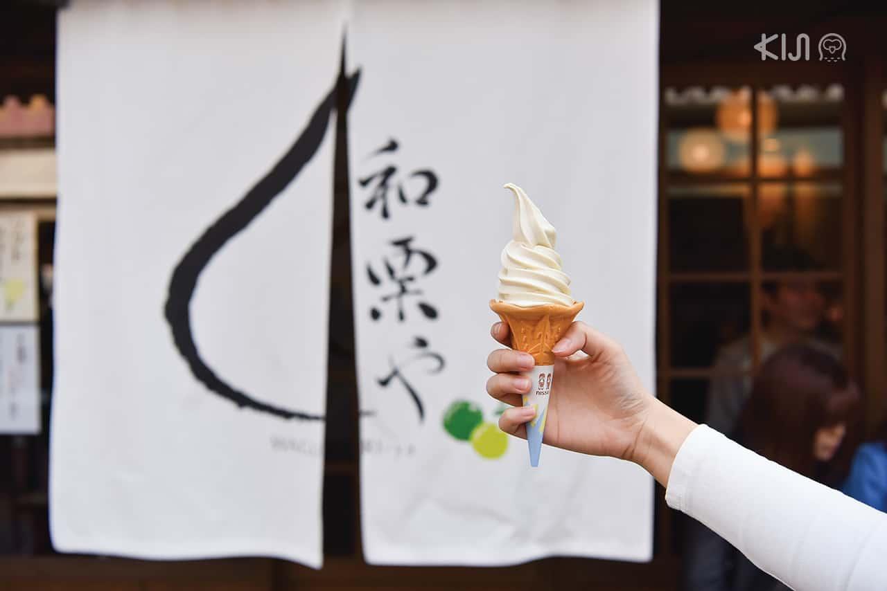 ไอศกรีมถั่วชื่อดังที่ถนนยานากะ กินซ่า บริเวณ Yanesen