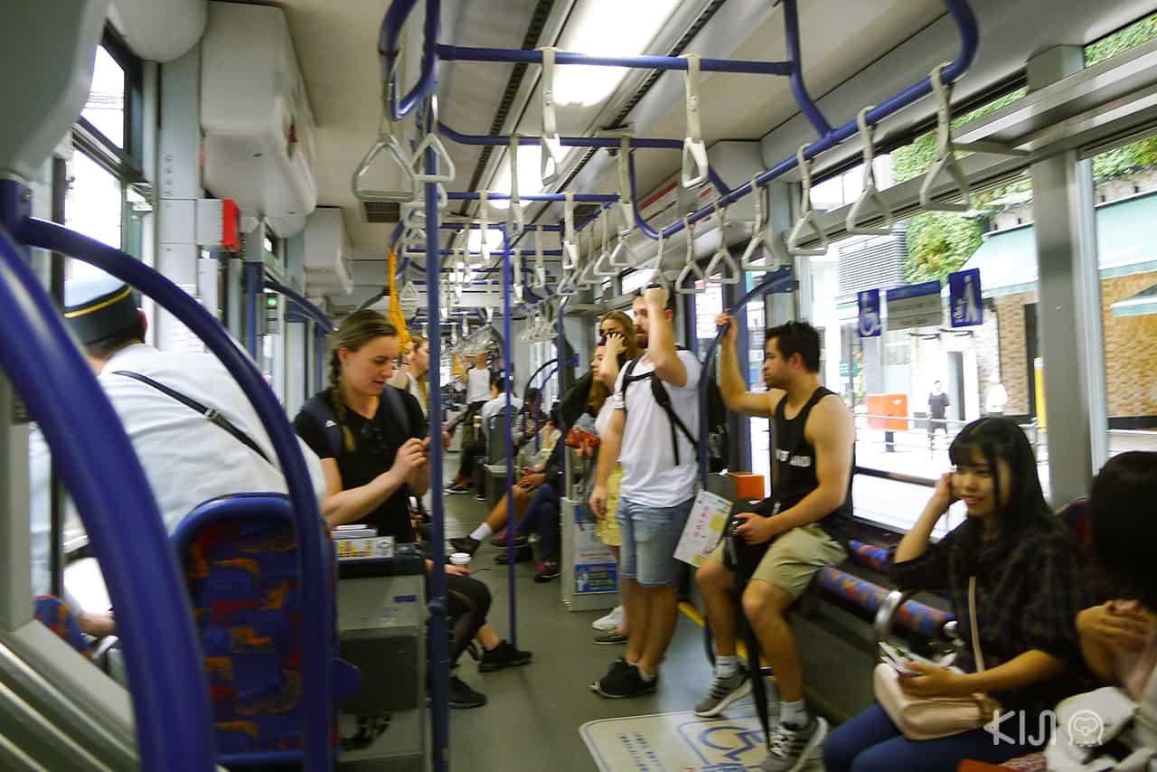 รถราง ญี่ปุ่น - ภายในรถไฟเมืองฮิโรชิม่า (Hiroshima)