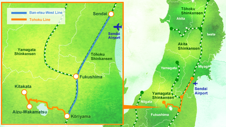 เส้นทางการเดินทาง FruiTea Fukushima Joyful train