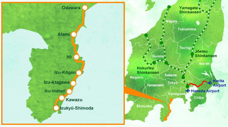 เส้นทางการเดินทาง IZU CRAILE Joyful train