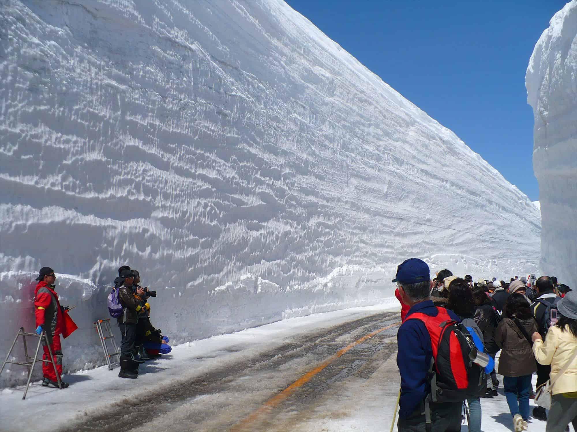 กำแพงหิมะสีขาวสูงที่ Tateyama Kurobe Alpine Route