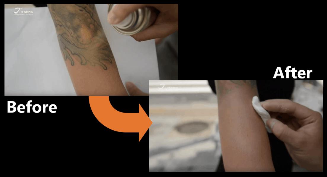 ก่อนและหลังใช้ Body Concealer สเปรย์ปกปิดรอยสัก วิจัยโดยนางายามะ อากิโอะ (Akio Nagayama)