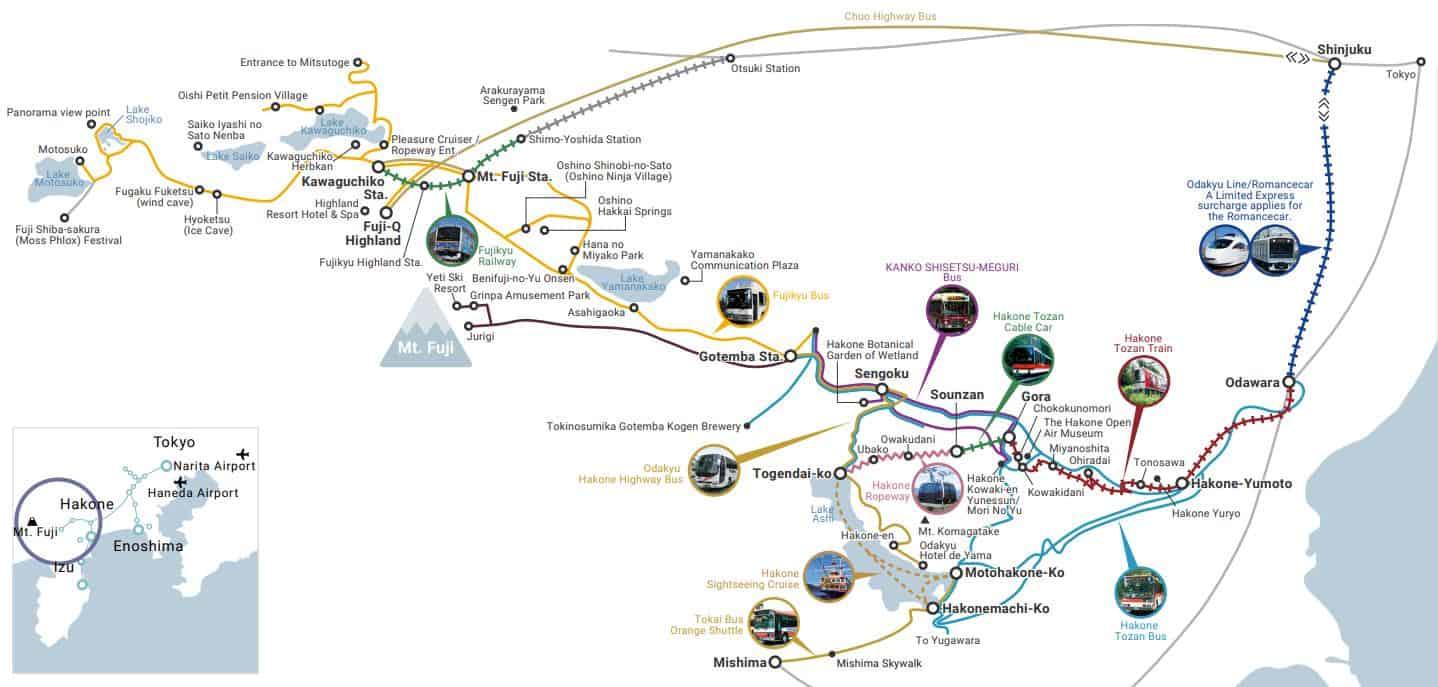 Fuji Hakone Pass แผนที่การเดินทาง