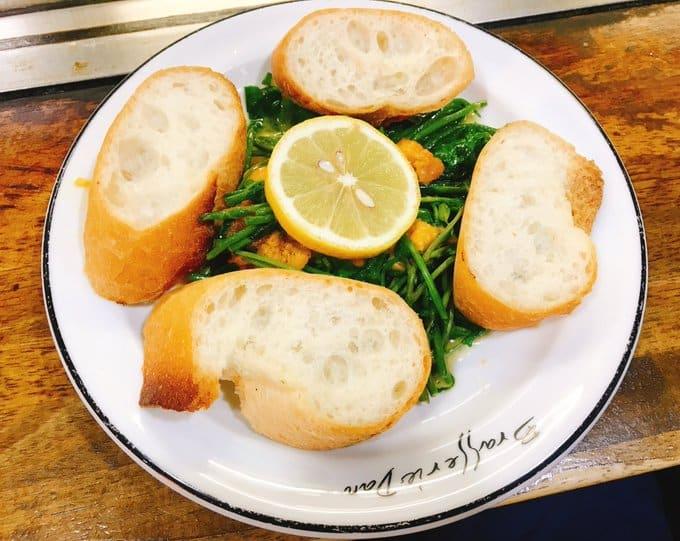 อาหาร ฮิโรชิม่า (Hiroshima Gourmet) - อุนิกับผักสลัดน้ำ (Sea Urchin with Watercress : ウニクレソン)